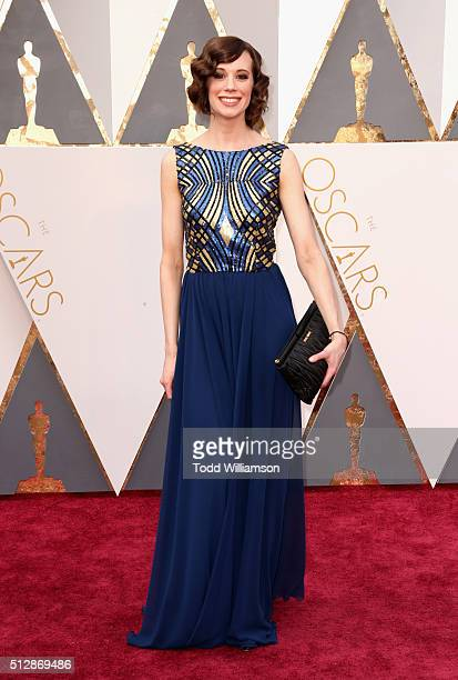 Actor Chloe Pirrie wears a custom dress by Hilfiger Collection during the 88th Annual Academy Awards at Hollywood Highland Center on February 28 2016...