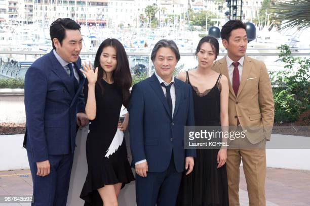Actor Cho JinWoong actress Kim TaeRi director Park ChanWook actress Kim MinHee and actor Ha JungWoo attend 'The Handmaiden ' photocall during the...