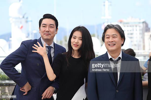 Actor Cho JinWoong actress Kim TaeRi director Park Chanwook attend The Handmaiden photocall during the 69th annual Cannes Film Festival at the Palais...