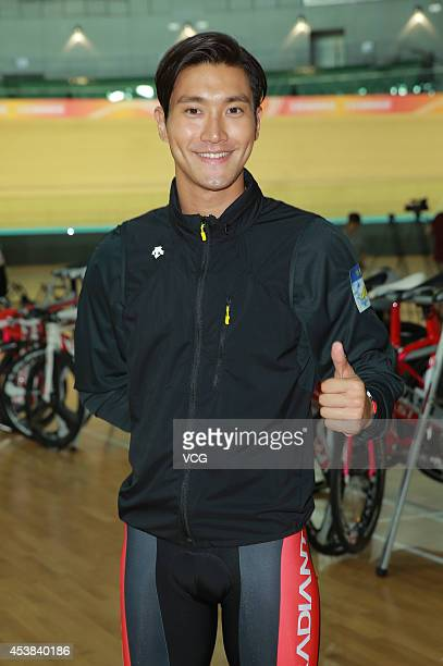Actor Choi Siwon attends new movie shooting of 'To The Fore' on August 19 2014 in Hong Kong China