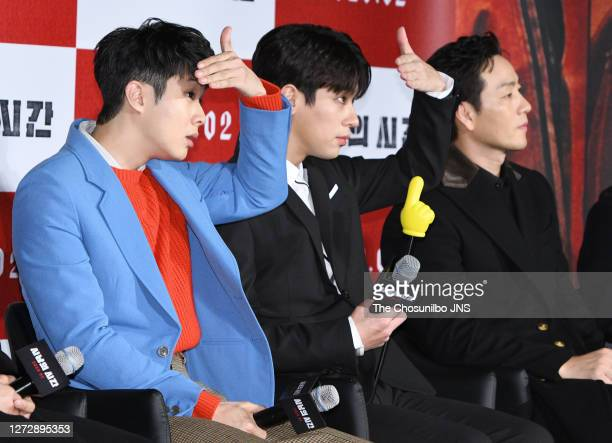 Actor Choi WooSik Park JungMin and Park HaeSoo attend the press conference for film 'Time to Hunt' at Lotte Cinema on January 31 2020 in Seoul South...