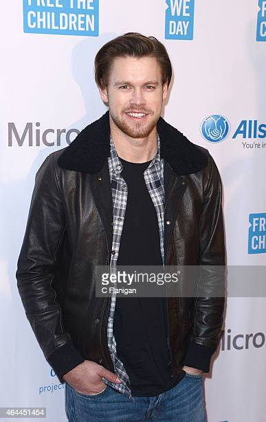 Actor Chord Overstreet poses backstage during 'We Day California' at SAP Center on February 25 2015 in San Jose California