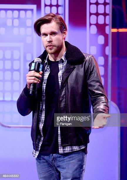 Actor Chord Overstreet speaks during 'We Day California' at SAP Center on February 25, 2015 in San Jose, California.