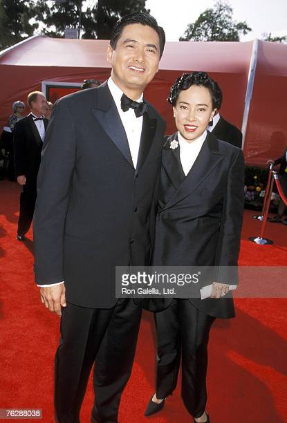 Actor Chow Yun Fat and wife Jasmine Chow attend the 73rd Annual Academy Awards on March 25 2001 at Shrine Auditorium in Los Angeles California
