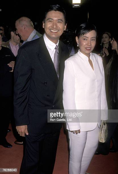 Actor Chow Yun Fat and wife Jasmine Chow attend the Hollywood Premiere of The Replacement Killers on February 4 1998 at Mann's Chinese Theatre in...