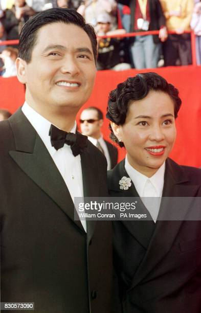 Actor Chow Yun Fat star of Crouching Tiger Hidden Dragon arriving with his wife Jasmine at the 73rd Annual Academy Awards held at the Shrine...