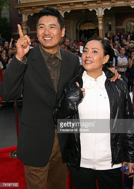 Actor Chow YunFat and his wife Jasmine Chow attend the premiere of Walt Disney's Pirates Of The Caribbean At World's End held at Disneyland on May 19...