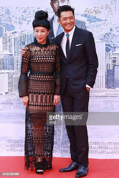 Actor Chow Yunfat and his wife Jasmine Tan attend the the premiere of Cold War 2 on June 26 2016 in Beijing China