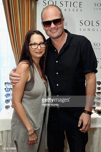 6a93db623ca9e Actor Chris Bauer in Carrera 6002 sunglasses poses with Director of Public  Relations of Solstice