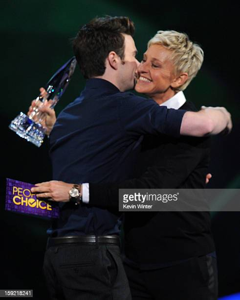 Actor Chris Colfer and comedian Ellen Degeneres onstage at the 39th Annual People's Choice Awards at Nokia Theatre LA Live on January 9 2013 in Los...
