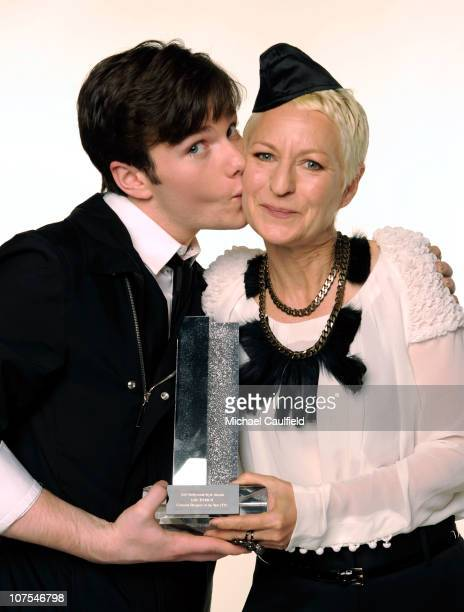 Actor Chris Colfer and costume designer poses for a portrait with her Outstanding Costume Design in TV award at the 2010 Hollywood Style Awards with...