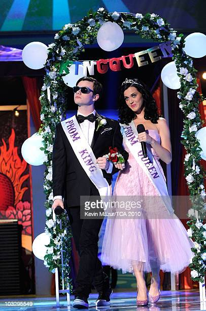 Actor Chris Colfer and host Katy Perry speak onstage during the 2010 Teen Choice Awards at Gibson Amphitheatre on August 8 2010 in Universal City...