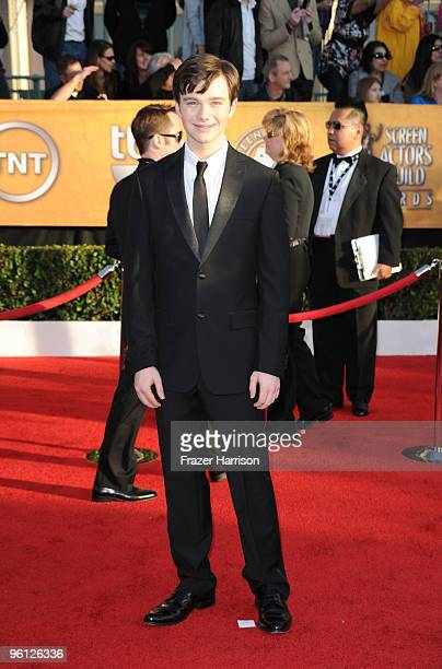 Actor Chris Colfer arrives at the 16th Annual Screen Actors Guild Awards held at the Shrine Auditorium on January 23 2010 in Los Angeles California