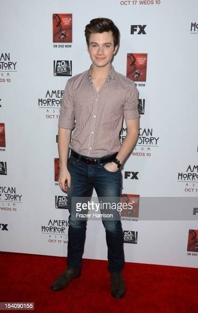 Actor Chris Colfer arrives at the Premiere Screening of FX's 'American Horror Story Asylum' at the Paramount Theatre on October 13 2012 in Hollywood...