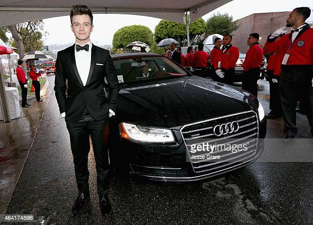 Actor Chris Colfer attends the 23rd Annual Elton John AIDS Foundation Academy Viewing Party in an Audi A8 L TDI on February 22 2015 in Los Angeles...