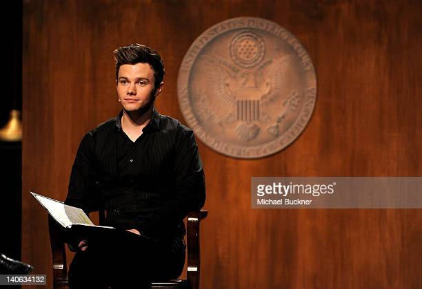 Actor Chris Colfer performs onstage during the onenight reading of 8 presented by The American Foundation For Equal Rights Broadway Impact at The...