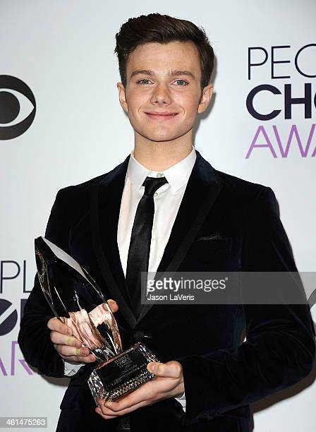 Actor Chris Colfer poses in the press room at the 40th annual People's Choice Awards at Nokia Theatre LA Live on January 8 2014 in Los Angeles...