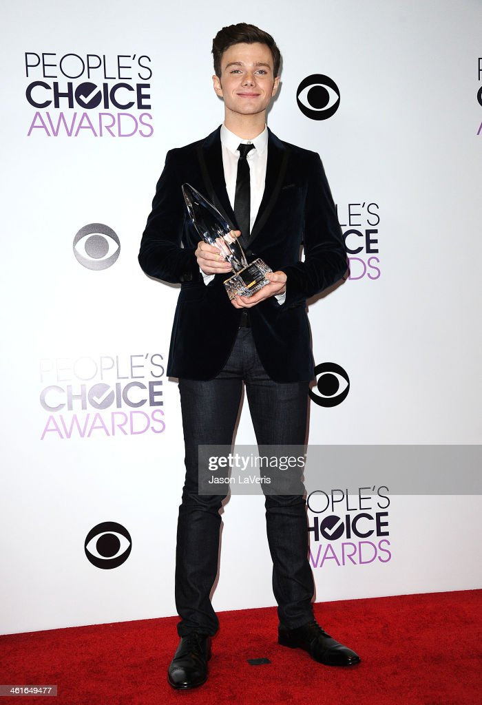 Actor Chris Colfer poses in the press room at the 40th annual People's Choice Awards at Nokia Theatre L.A. Live on January 8, 2014 in Los Angeles, California.