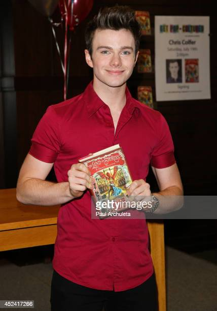 Actor Chris Colfer signs copies of his new book 'The Land Of Stories A Grimm Warning' at Barnes Noble bookstore at The Grove on July 19 2014 in Los...