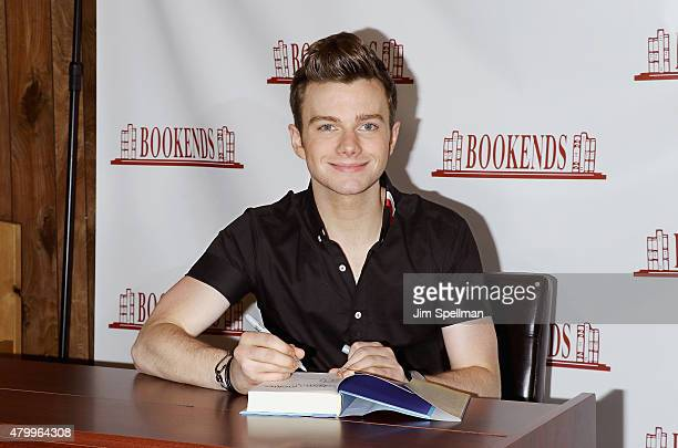 Actor Chris Colfer signs copies of his new book 'The Land of Stories Beyond the Kingdoms' at Bookends Bookstore on July 8 2015 in Ridgewood New Jersey