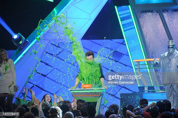 Actor Chris Colfer speaks onstage at Nickelodeon's 25th Annual Kids' Choice Awards held at Galen Center on March 31 2012 in Los Angeles California