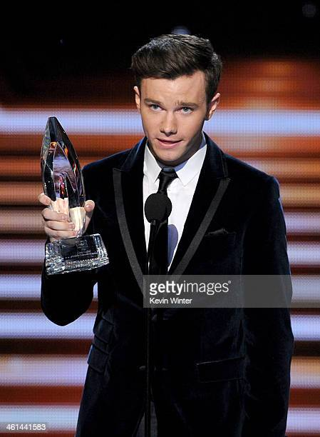 Actor Chris Colfer winner of the Favorite Comedic TV Actor award for 'Glee' speaks onstage at The 40th Annual People's Choice Awards at Nokia Theatre...