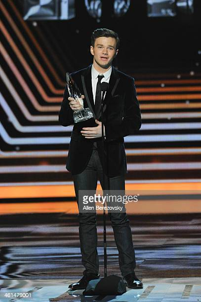 Actor Chris Colfer winner of the Favorite Comedic TV Actor award for 'Glee' speaks onstage at The 40th Annual People's Choice Awards show at Nokia...