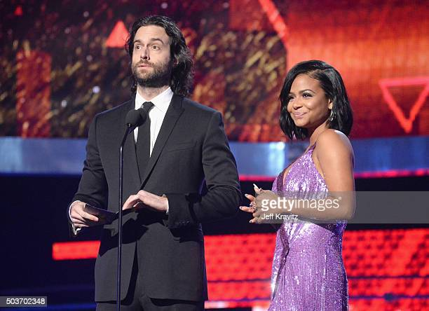 Actor Chris D'Elia and singer Christina Milian speak onstage during the People's Choice Awards 2016 at Microsoft Theater on January 6 2016 in Los...
