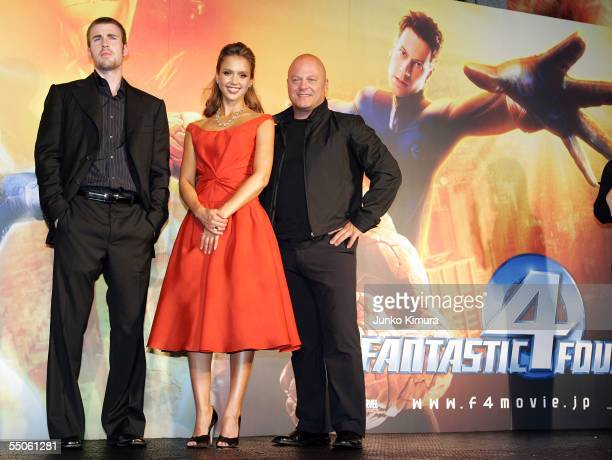 "Actor Chris Evans, actress Jessica Alba and actor Chichal Chiklis pose for photographers during the Japan Premiere of ""Fantastic Four"" on September..."