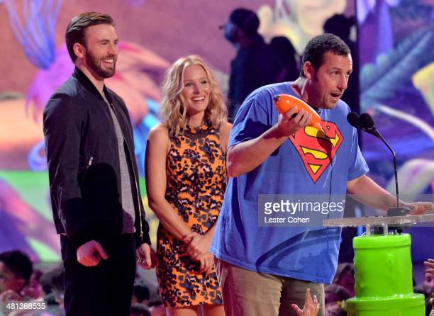Actor Chris Evans actress Kristen Bell and actor Adam Sandler speak onstage during Nickelodeon's 27th Annual Kids' Choice Awards held at USC Galen...
