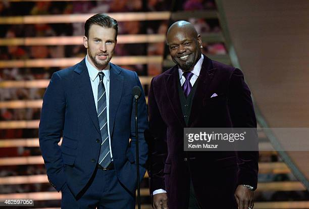 Actor Chris Evans and retired NFL player Emmitt Smith speak onstage during the 4th Annual NFL Honors at Phoenix Convention Center on January 31 2015...