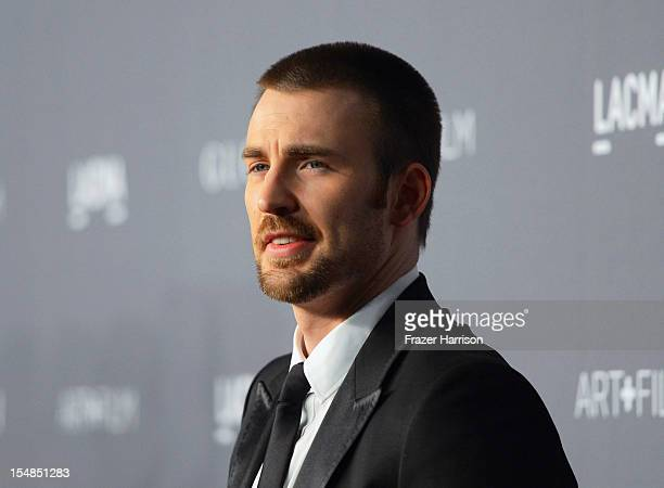 Actor Chris Evans arrives at LACMA 2012 Art + Film Gala Honoring Ed Ruscha and Stanley Kubrick presented by Gucci at LACMA on October 27, 2012 in Los...