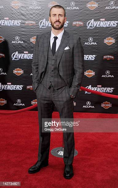 Actor Chris Evans arrives at the Los Angeles premiere of 'Marvel's Avengers' at the El Capitan Theatre on April 11 2012 in Hollywood California