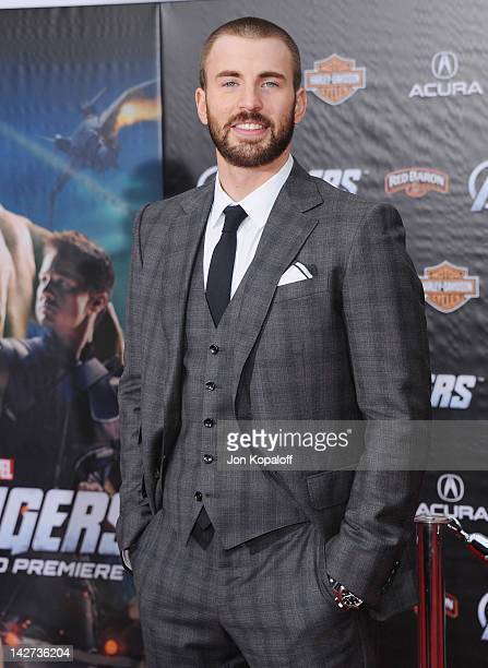 Actor Chris Evans arrives at the Los Angeles Premiere of The Avengers at the El Capitan Theatre on April 11 2012 in Hollywood California