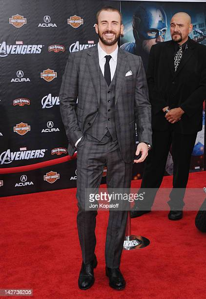 Actor Chris Evans arrives at the Los Angeles Premiere of 'The Avengers' at the El Capitan Theatre on April 11 2012 in Hollywood California