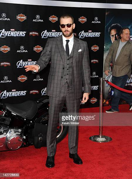 Actor Chris Evans arrives at the premiere of Marvel Studios' The Avengers at the El Capitan Theatre on April 11 2012 in Hollywood California