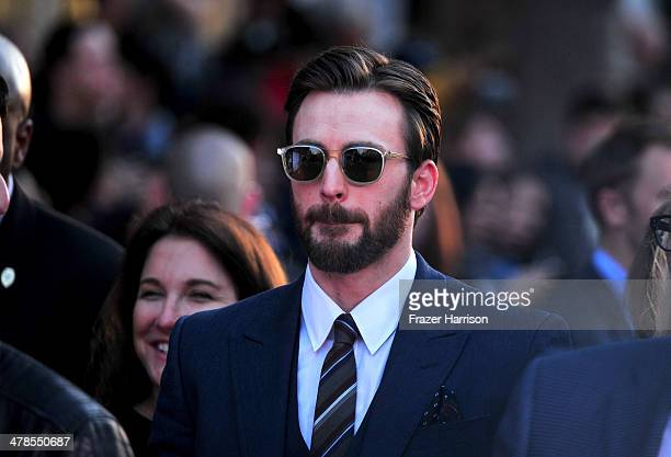 """Actor Chris Evans, arrives at the premiere Of Marvel's """"Captain America:The Winter Soldier at the El Capitan Theatre on March 13, 2014 in Hollywood,..."""