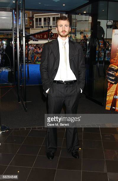 "Actor Chris Evans arrives at the UK Premiere of ""Fantastic Four"" at Vue Leicester Square on July 18, 2005 in London, England."