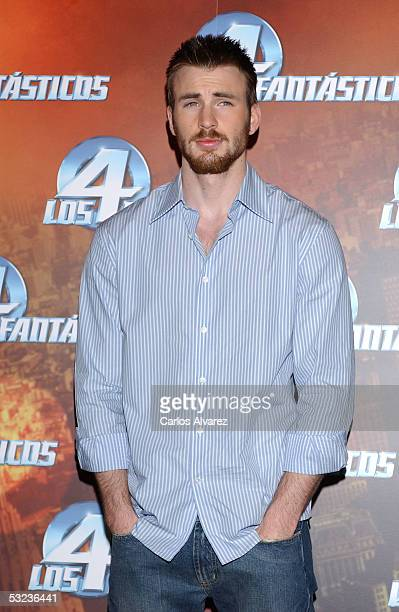 "Actor Chris Evans attends a photocall to promote the new film ""Fantastic Four"" at Hotel Palace on July 14, 2005 in Madrid, Spain."