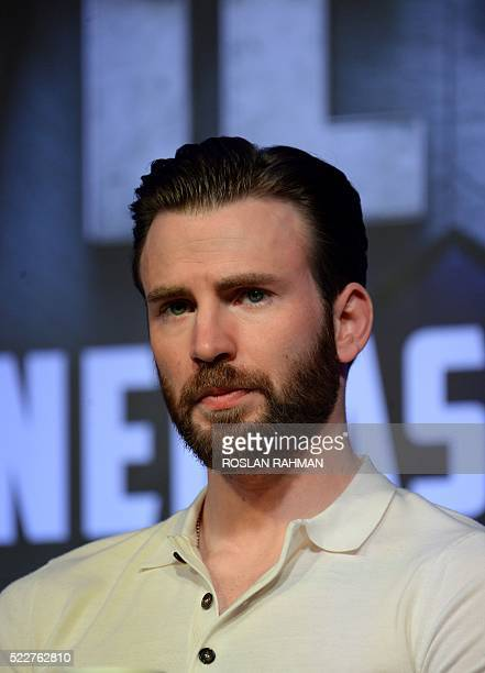 Actor Chris Evans attends a press conference at Marina Bay Sands in Singapore on April 21 during a press tour to promote the latest Marvel...