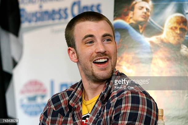 Actor Chris Evans attends a press conference prior to the start of the NASCAR Nextel Cup Series CocaCola 600 on May 27 2007 at Lowe's Motor Speedway...