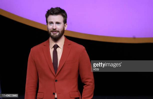 Actor Chris Evans attends 'Avengers: Endgame' premiere at Shanghai Oriental Sports Center on April 18, 2019 in Shanghai, China.