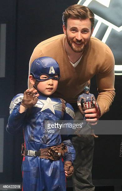 Actor Chris Evans attends Captain America The Winter Soldier premiere at Taikoo Li Sanlitun on March 24 2014 in Beijing China