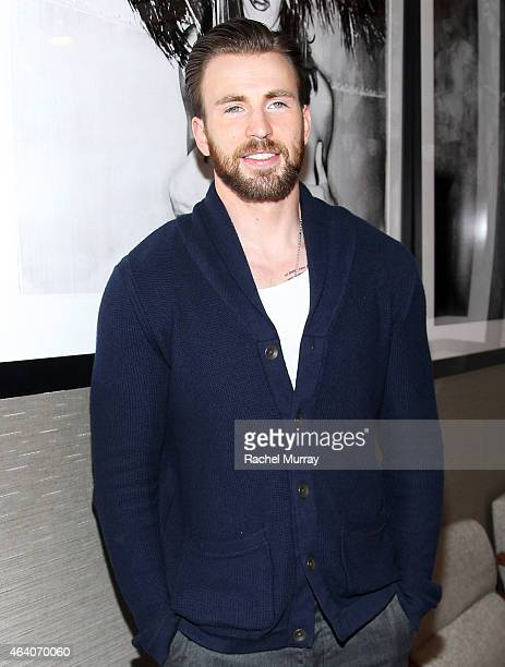 Actor Chris Evans attends CW3PR presents Gold Meets Golden at Equinox Sports Club on February 21 2015 in Los Angeles California