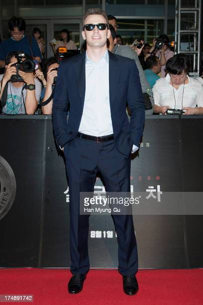 Actor Chris Evans attends during the 'Snowpiercer' South Korea premiere at Times Square on July 29 2013 in Seoul South Korea The film will open on...