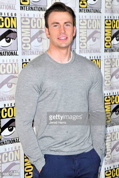 Actor Chris Evans attends Marvel's 'AntMan' press line during ComicCon International 2014 at San Diego Convention Center on July 26 2014 in San Diego...