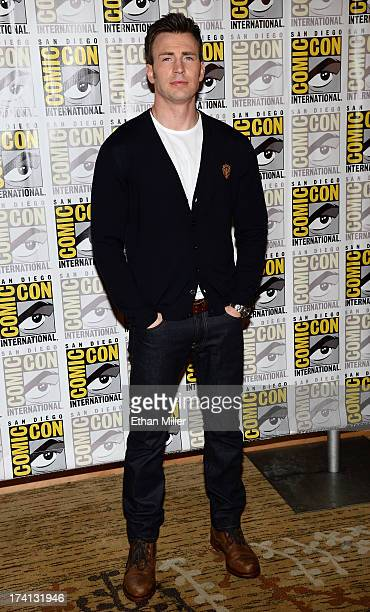 Actor Chris Evans attends Marvel's 'Captain America The Winter Soldier' during ComicCon International 2013 at the Hilton San Diego Bayfront Hotel on...