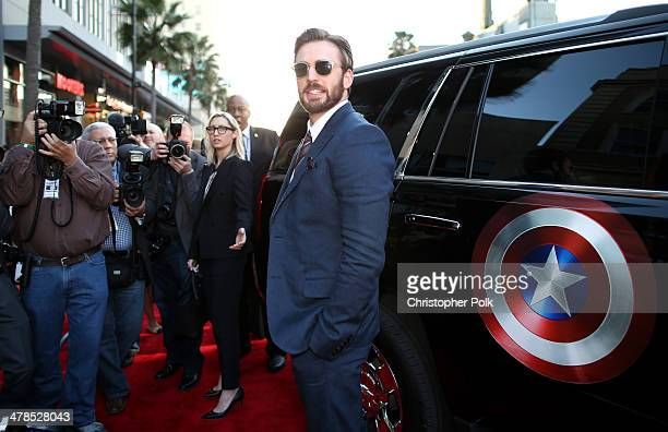 """Actor Chris Evans attends Marvel's """"Captain America: The Winter Soldier"""" premiere at the El Capitan Theatre on March 13, 2014 in Hollywood,..."""