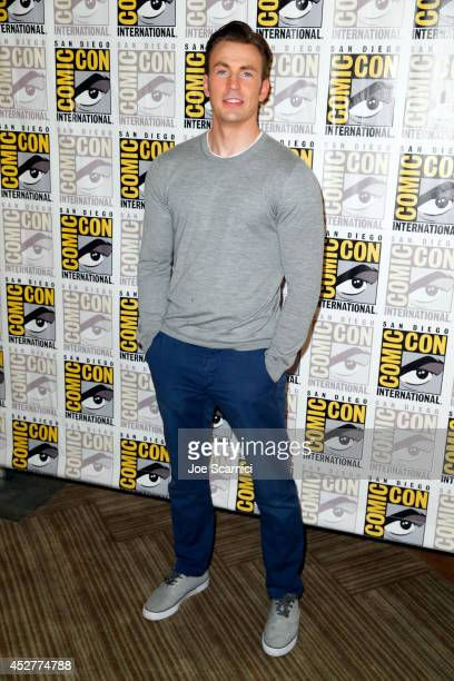 Actor Chris Evans attends Marvel's Hall H Press Line for 'AntMan' and 'Avengers Age Of Ultron' during ComicCon International 2014 at San Diego...