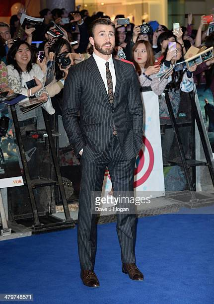 Actor Chris Evans attends the 'Captain America The Winter Soldier' UK film premiere at Westfield on March 20 2014 in London England